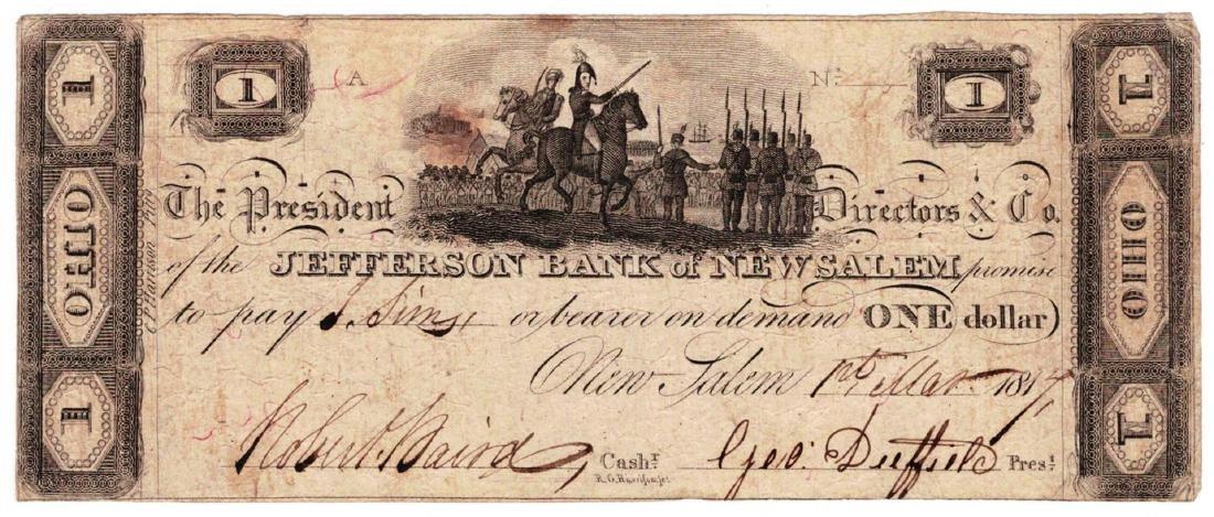 1814 $1 Jefferson - Bank of New Salem ,OH - Obsolete