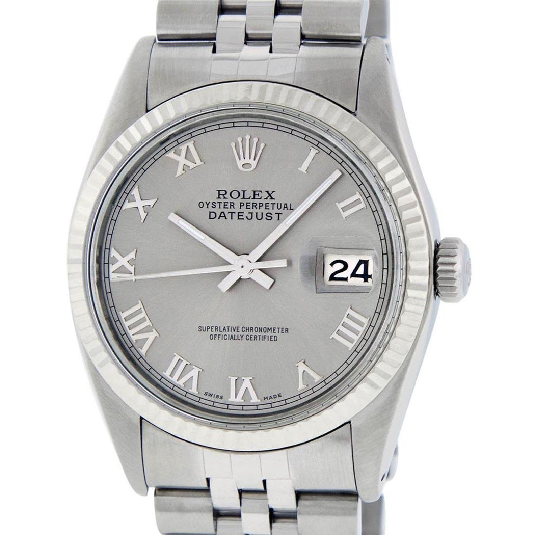 Rolex Mens Stainless Steel 36MM Slate Grey Roman