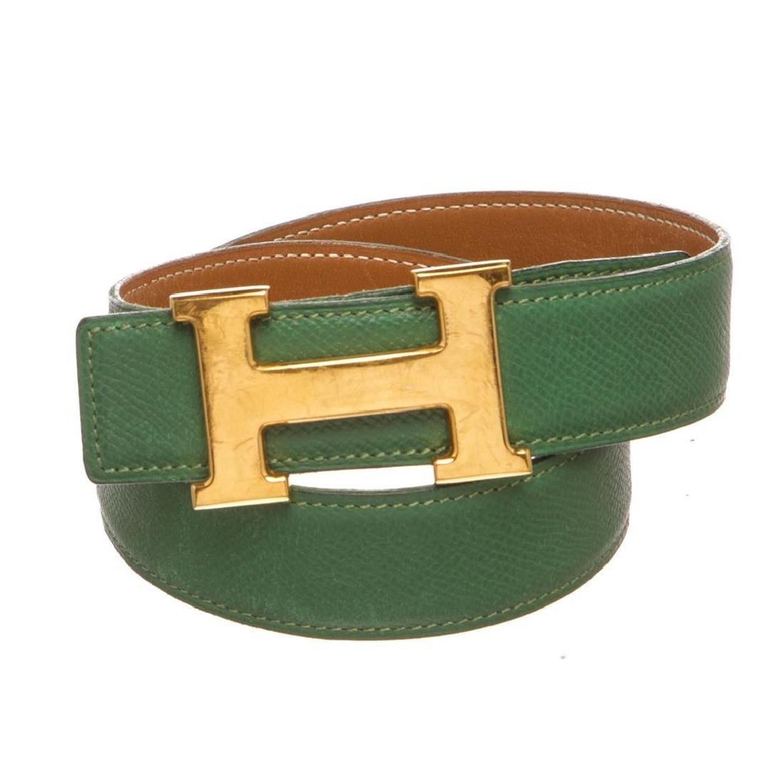 Hermes Green Leather Reversible Constance H Belt 60