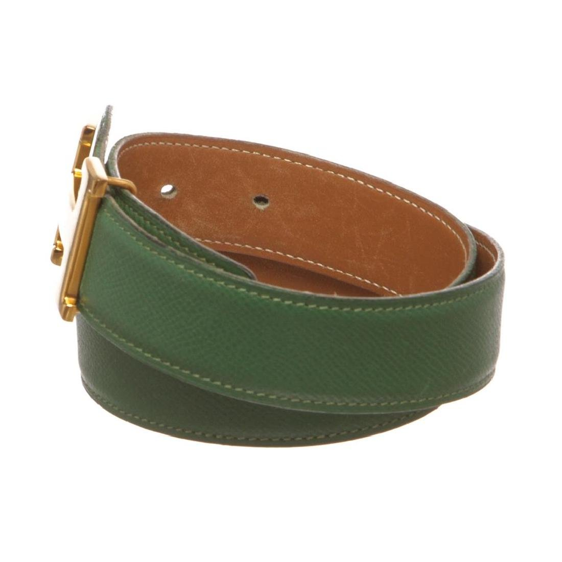 Hermes Green Leather Reversible Constance H Belt 60 - 4