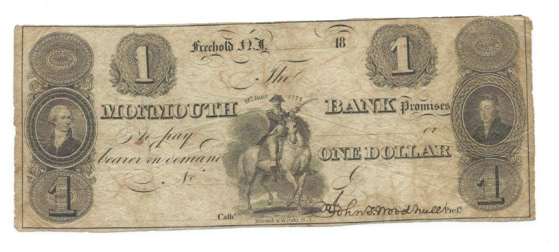1800's $1 Monmouth Bank, Freehold NJ Obsolete Bank Note