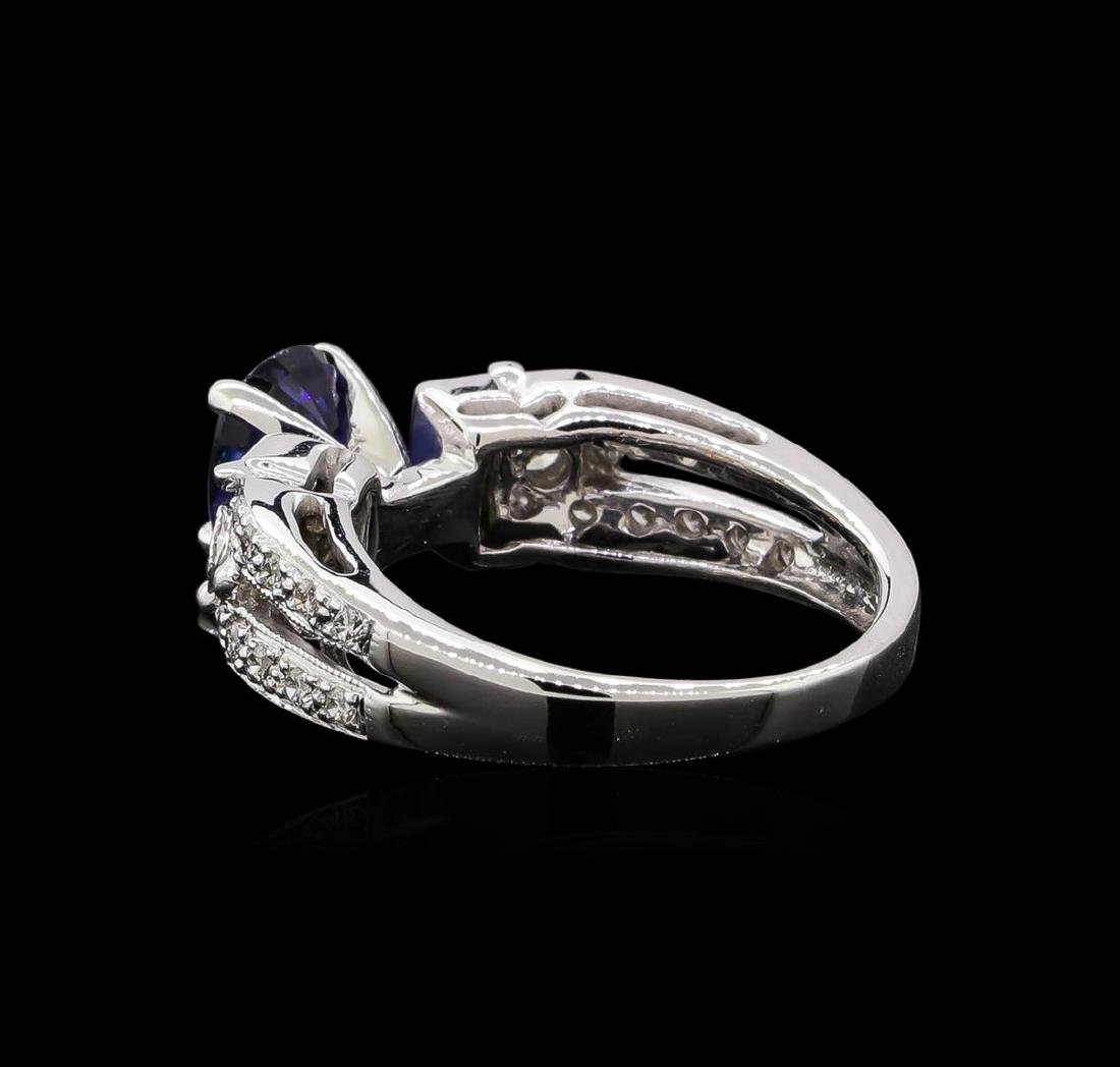 1.02 ctw Sapphire and Diamond Ring - 14KT White Gold - 3