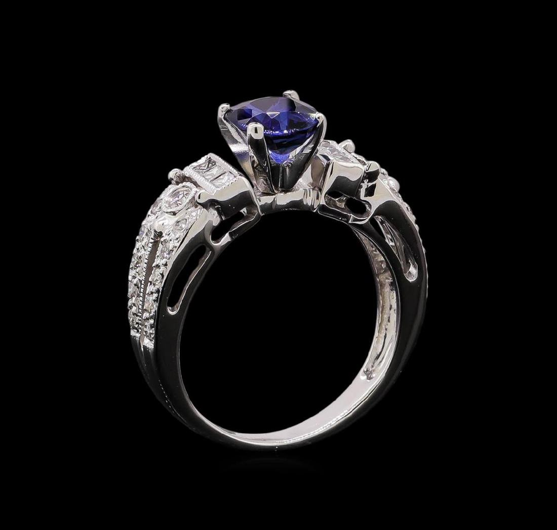 1.02 ctw Sapphire and Diamond Ring - 14KT White Gold - 4
