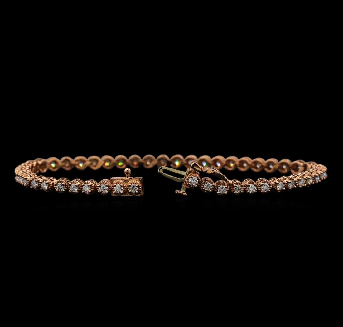 14KT Rose Gold 1.78 ctw Diamond Tennis Bracelet - 3