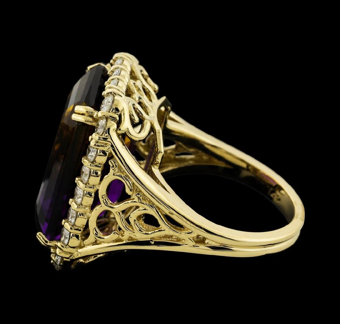 14.64 ctw Ametrine Quartz and Diamond Ring - 14KT - 3
