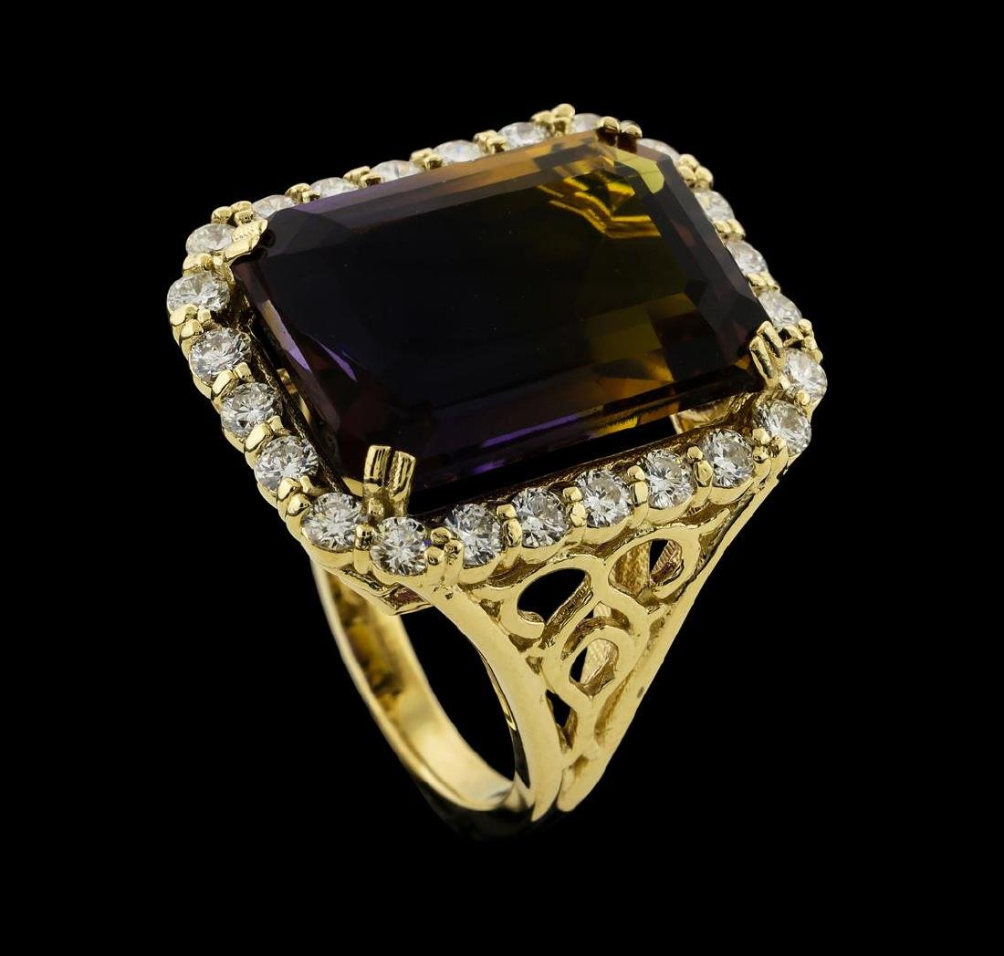 14.64 ctw Ametrine Quartz and Diamond Ring - 14KT - 4