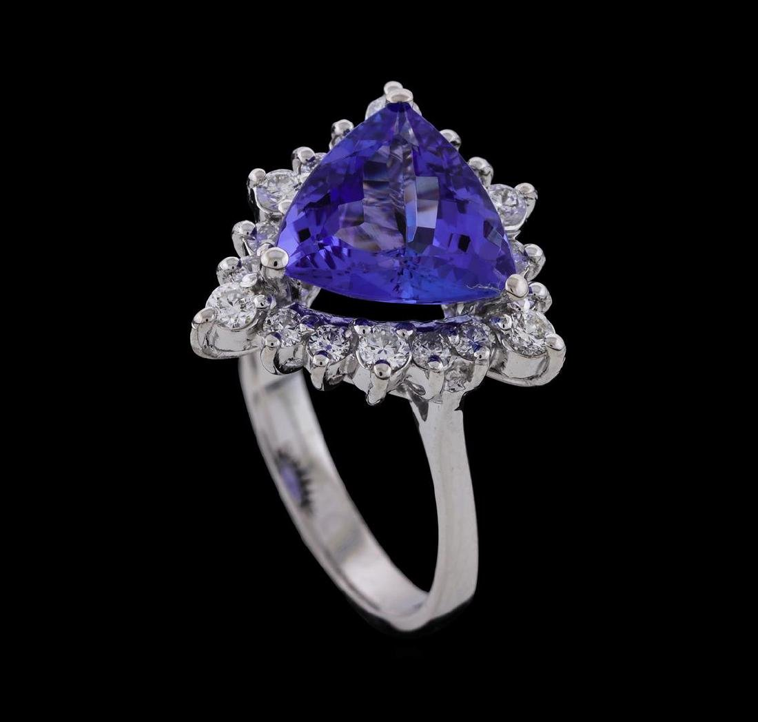 2.85 ctw Tanzanite and Diamond Ring - 14KT White Gold - 4