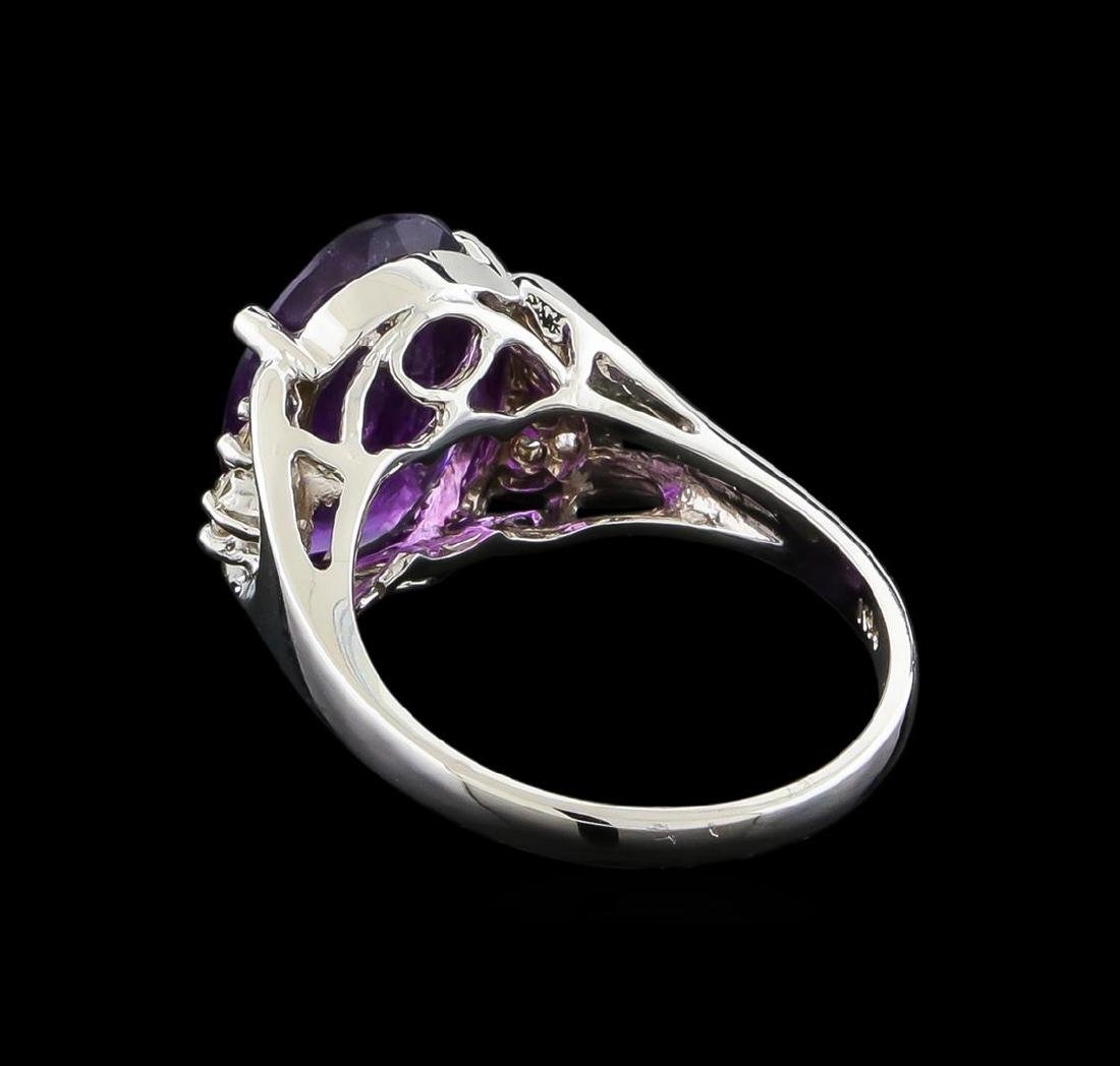 4.13 ctw Amethyst and Diamond Ring - 14KT White Gold - 3
