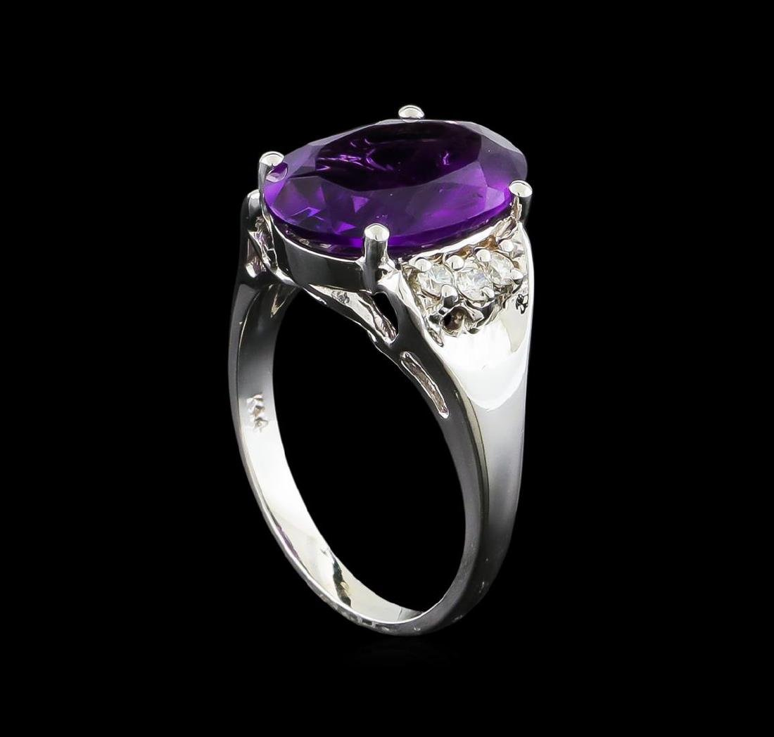 4.13 ctw Amethyst and Diamond Ring - 14KT White Gold - 4