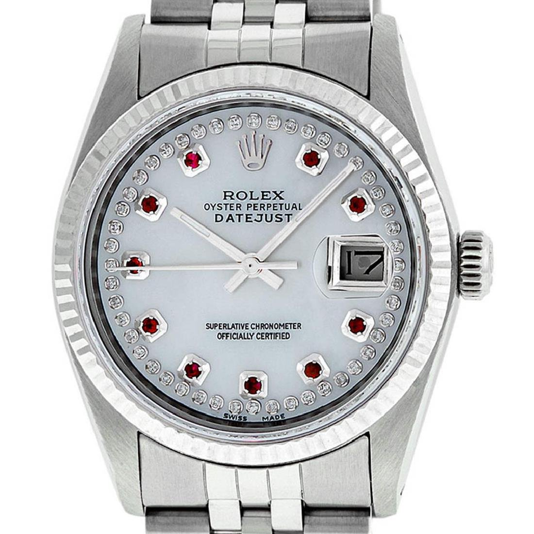 Rolex Mens Stainless Steel Mother Of Pearl Diamond &