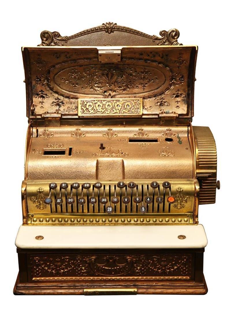 Vintage Brass National Cash Register - 2
