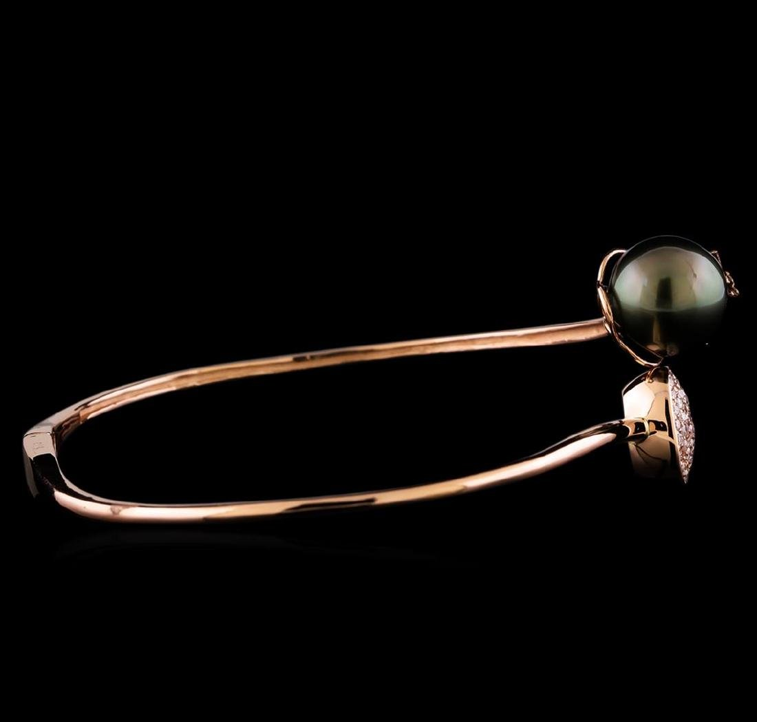 0.51 ctw Diamond and Pearl Bracelet - 14KT Rose Gold - 2