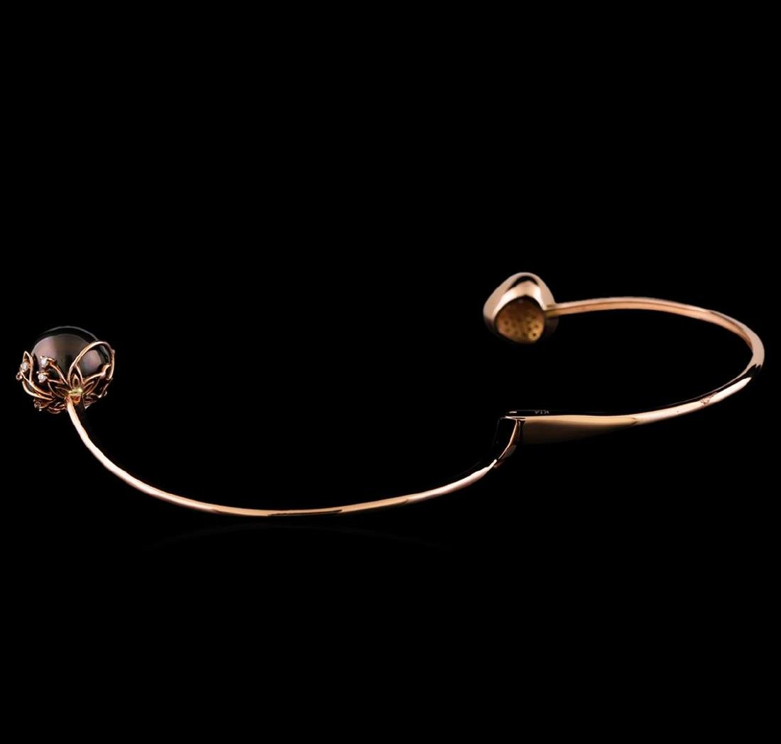 0.51 ctw Diamond and Pearl Bracelet - 14KT Rose Gold - 3