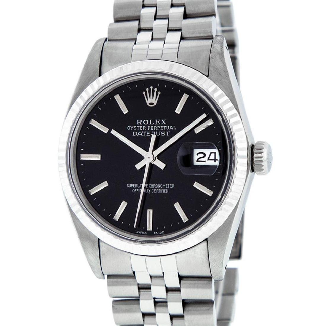 Rolex Mens Stainless Steel Black Index 36mm Datejust