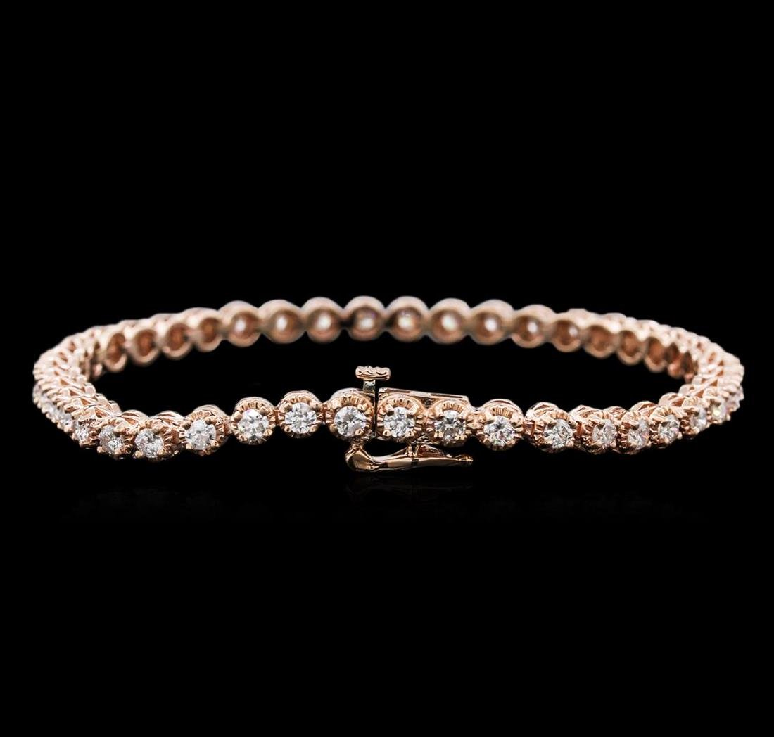 14KT Rose Gold 3.15 ctw Diamond Tennis Bracelet - 2