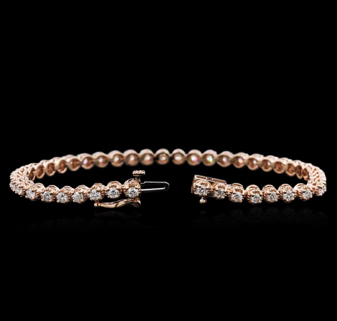 14KT Rose Gold 3.15 ctw Diamond Tennis Bracelet - 3