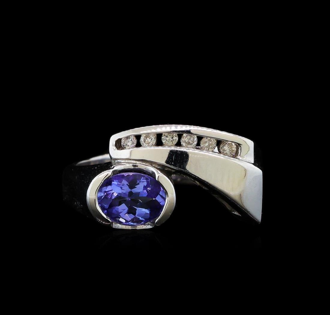 0.86 ctw Tanzanite and Diamond Ring - 14KT White Gold - 2