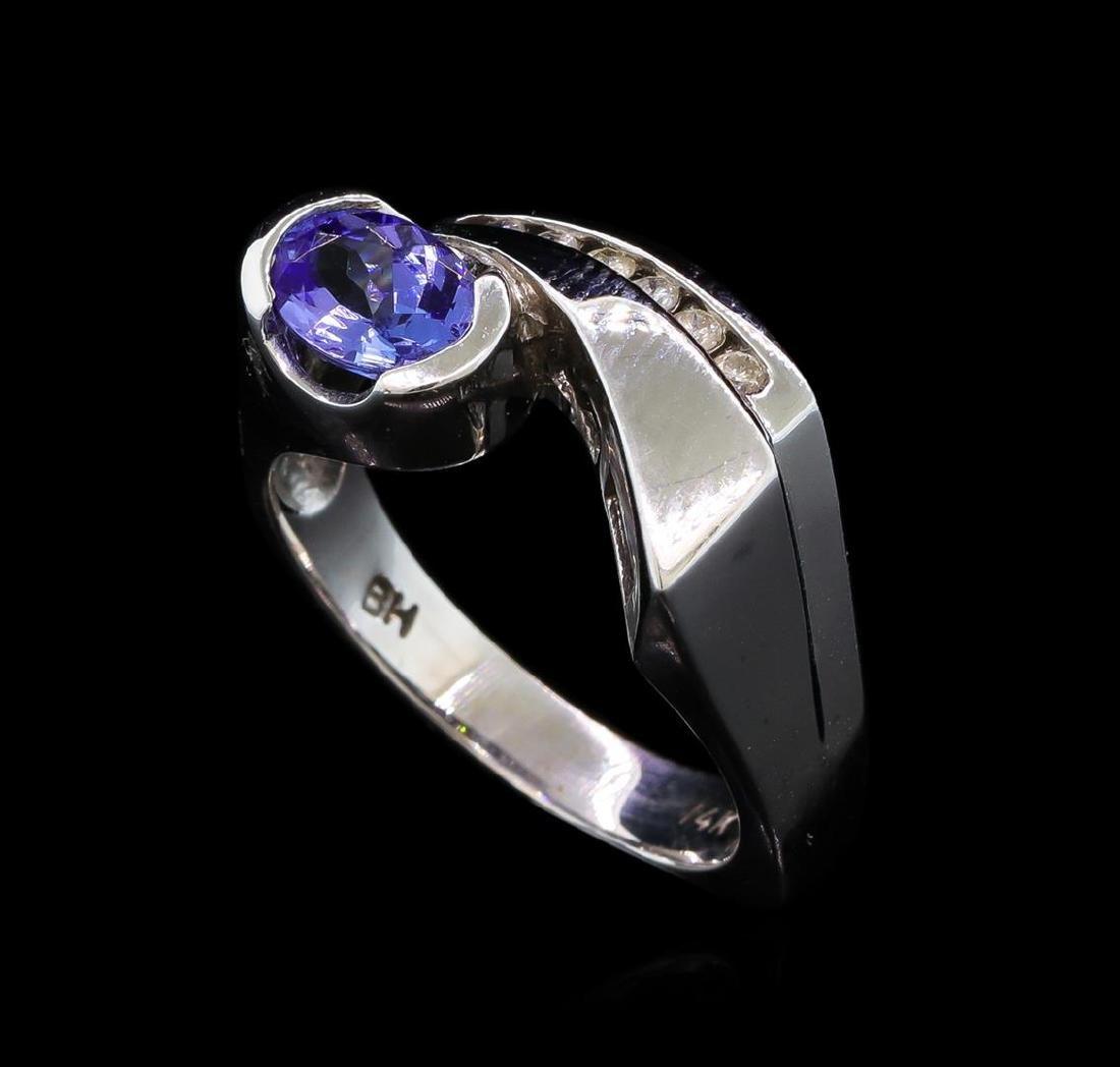 0.86 ctw Tanzanite and Diamond Ring - 14KT White Gold - 4