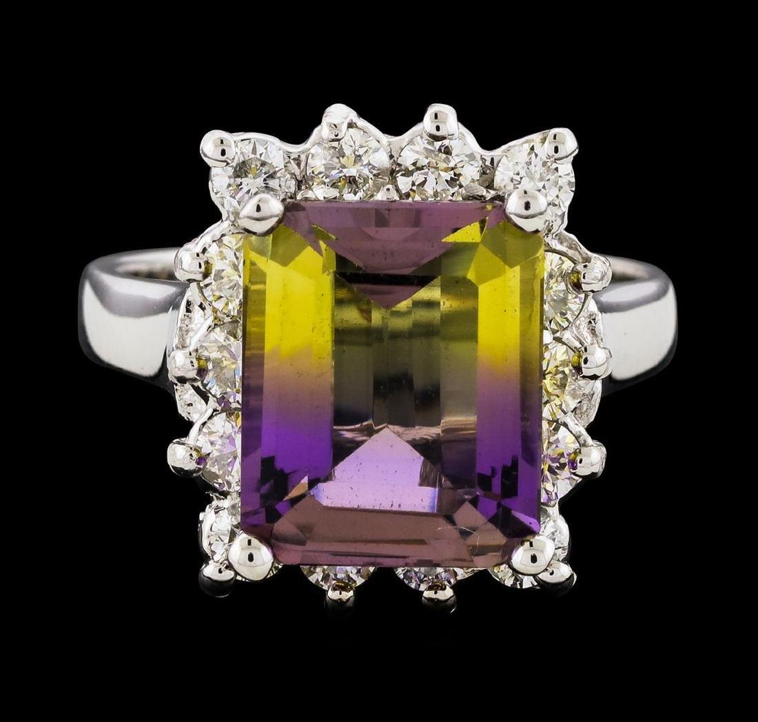 4.48 ctw Ametrine and Diamond Ring - 14KT White Gold - 2