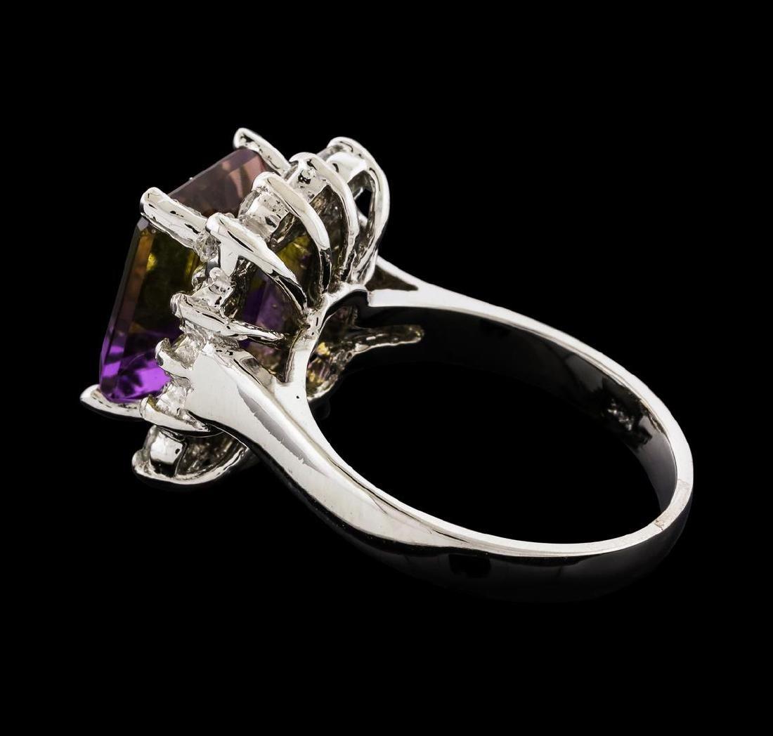 4.48 ctw Ametrine and Diamond Ring - 14KT White Gold - 3