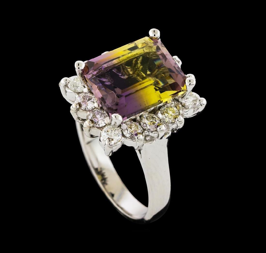 4.48 ctw Ametrine and Diamond Ring - 14KT White Gold - 4