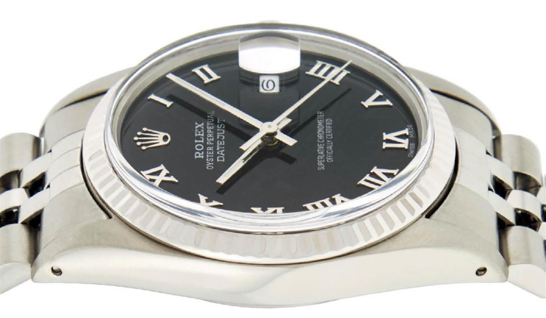 Rolex Mens Stainless Steel Black Roman Datejust 36MM - 3