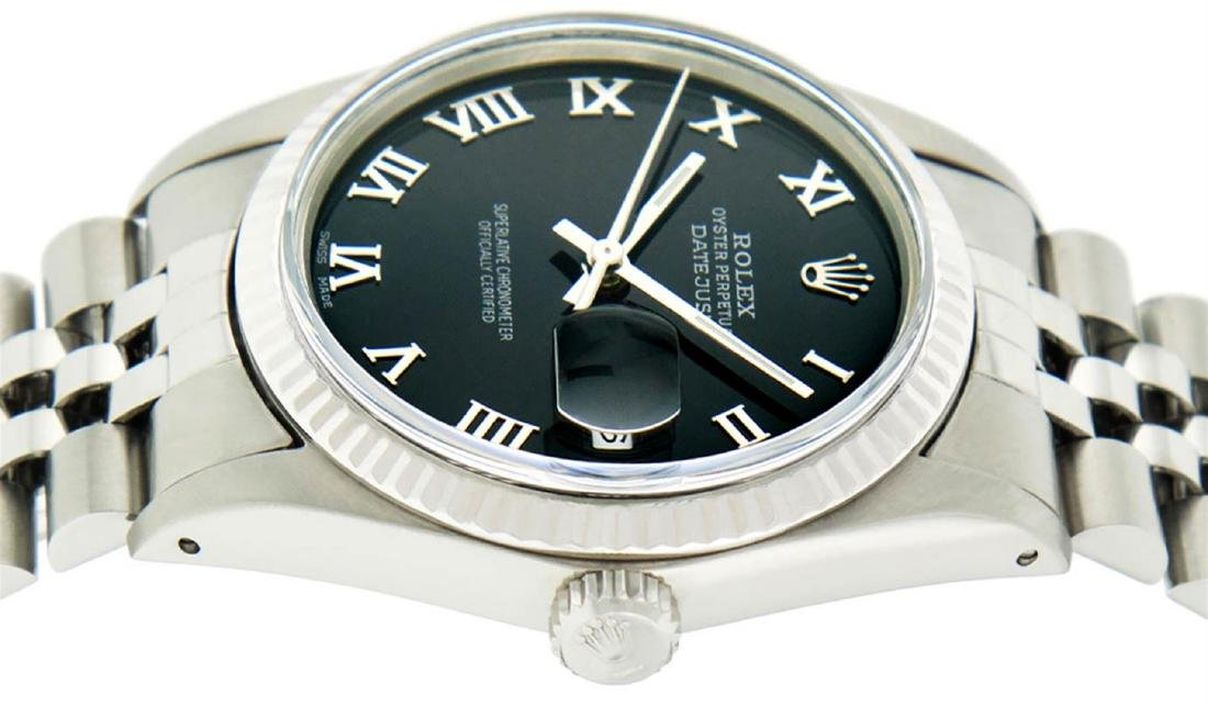 Rolex Mens Stainless Steel Black Roman Datejust 36MM - 4