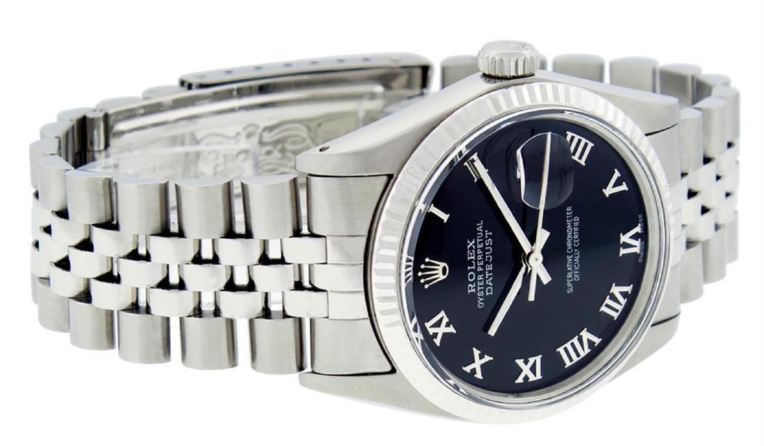 Rolex Mens Stainless Steel Black Roman Datejust 36MM - 6