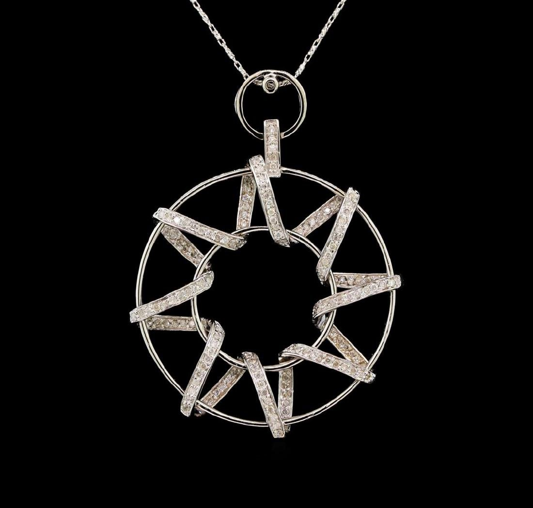 14KT White Gold 1.10 ctw Diamond Pendant With Chain