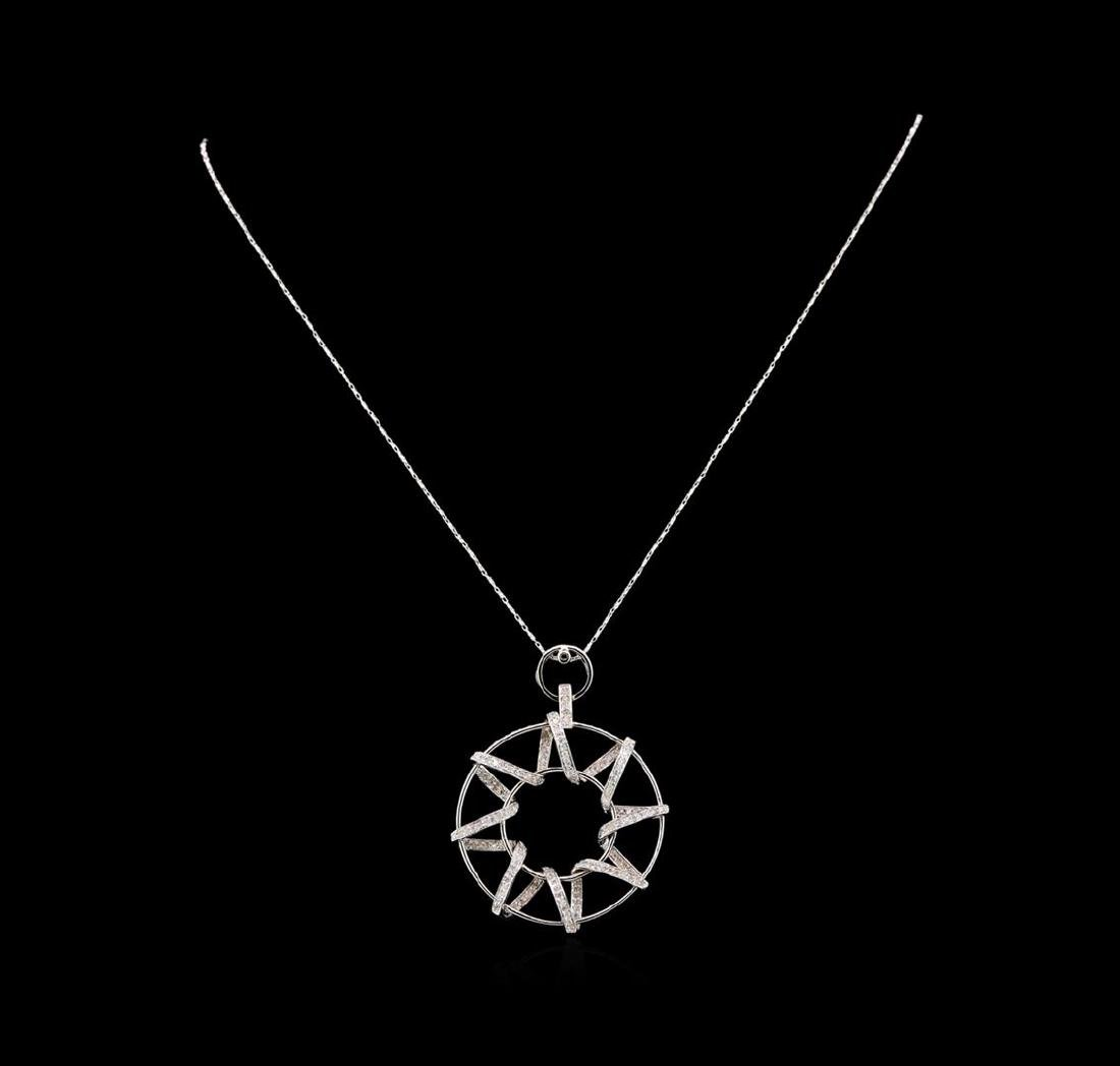 14KT White Gold 1.10 ctw Diamond Pendant With Chain - 2