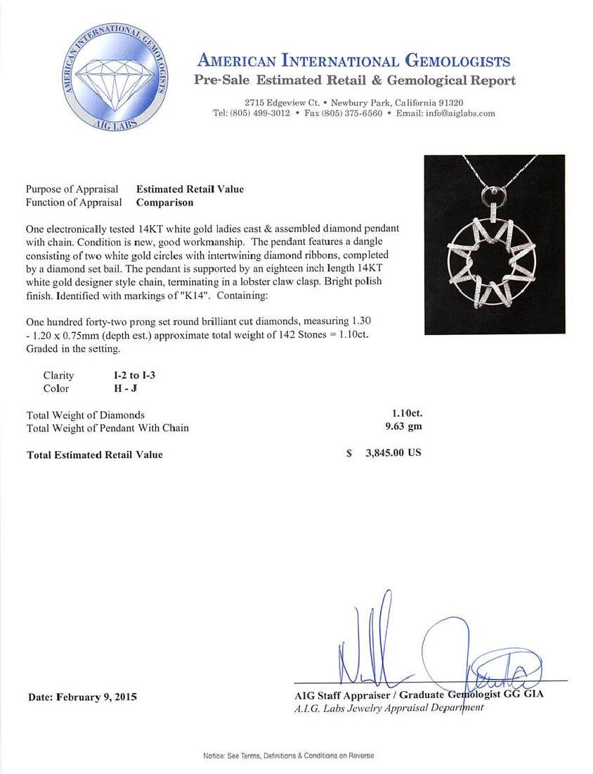 14KT White Gold 1.10 ctw Diamond Pendant With Chain - 3