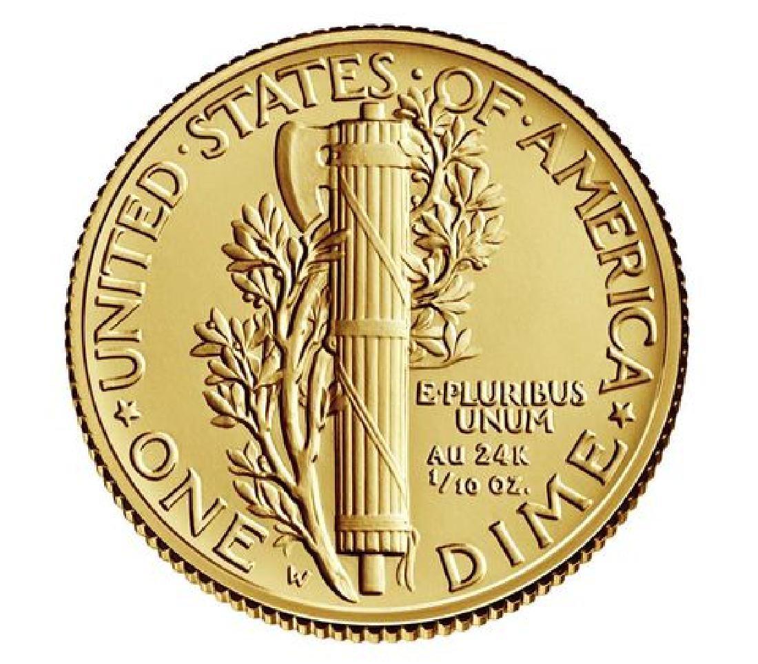2016-W Mercury Dime Gold Centennial Commemorative Coin - 2