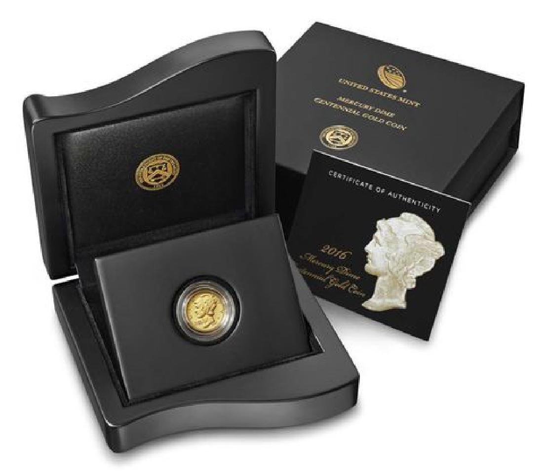 2016-W Mercury Dime Gold Centennial Commemorative Coin - 3