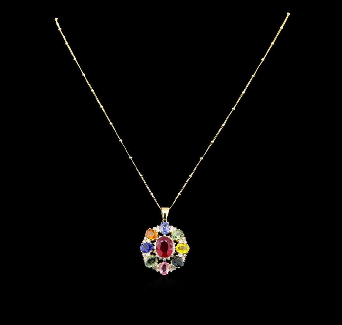 14KT Yellow Gold 4.42 ctw Ruby, Sapphire and Diamond - 2