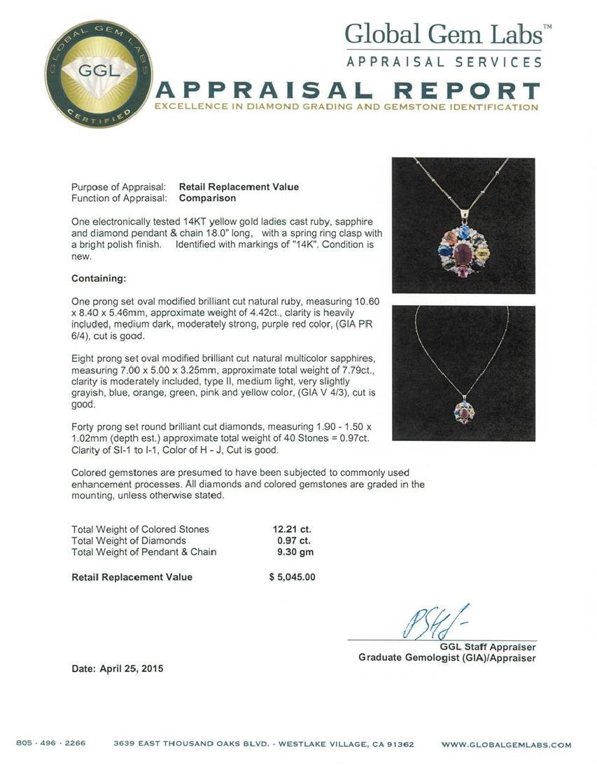 14KT Yellow Gold 4.42 ctw Ruby, Sapphire and Diamond - 3