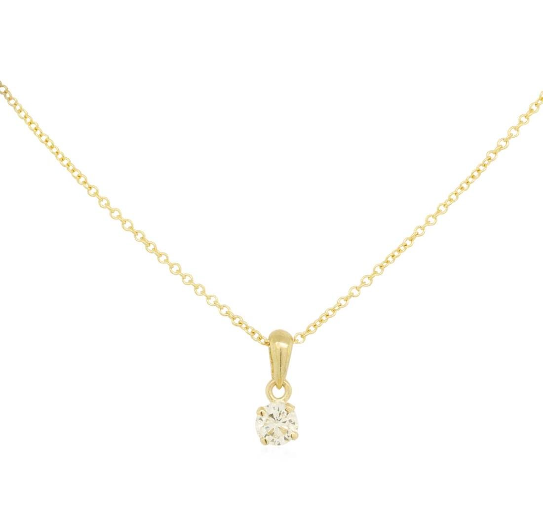 0.2 ctw Diamond Pendant With Chain - 14KT Yellow Gold