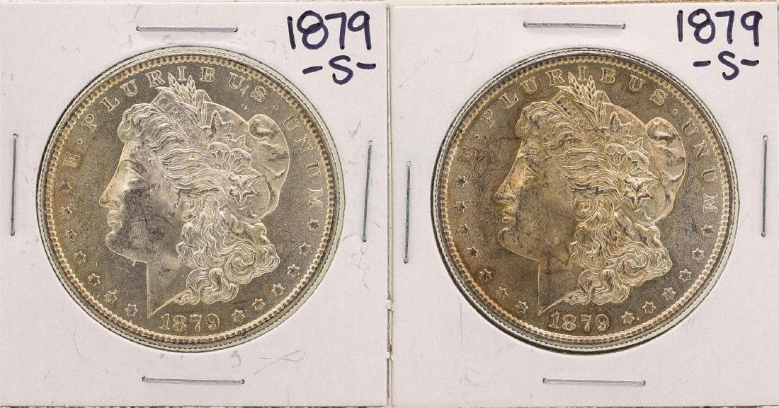 Lot of (2) 1879-S $1 Morgan Silver Dollar Coins