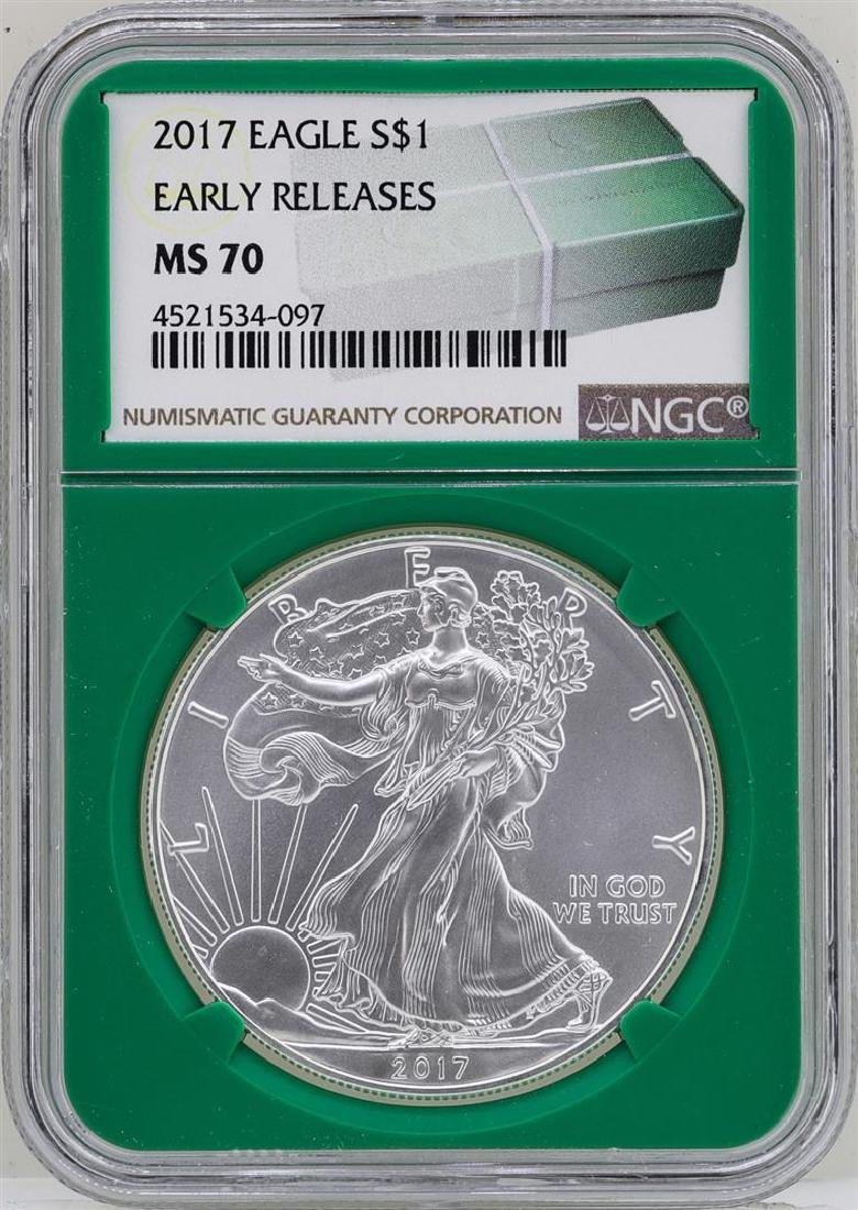 2017 $1 American Silver Eagle Coin NGC MS70 Early