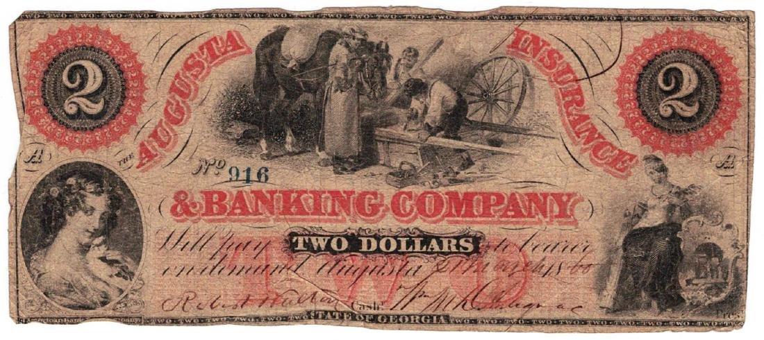 1860 $2 Augusta Insurance & Banking Co., GA - Obsolete