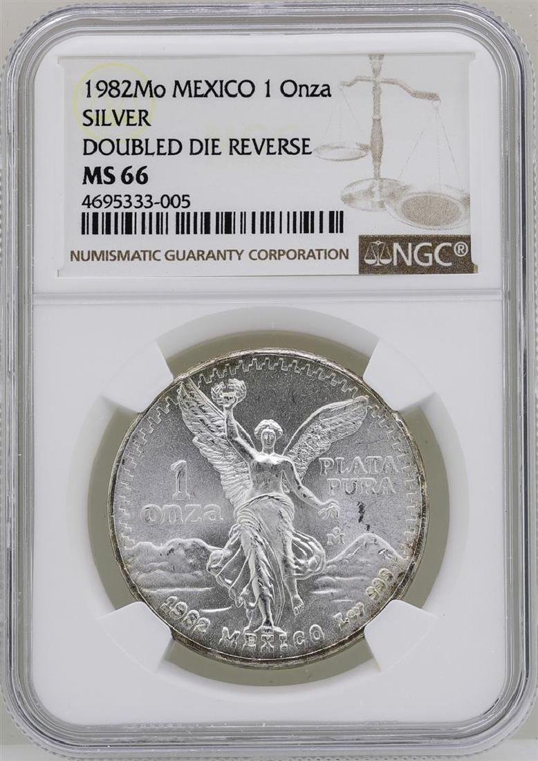 1982Mo Mexico Libertad Onza Doubled Die Reverse Silver