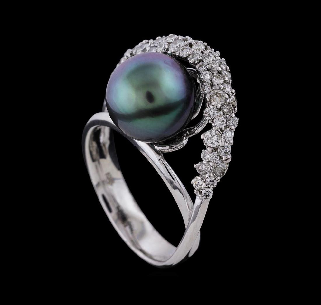 Pearl and Diamond Ring - 14KT White Gold - 4