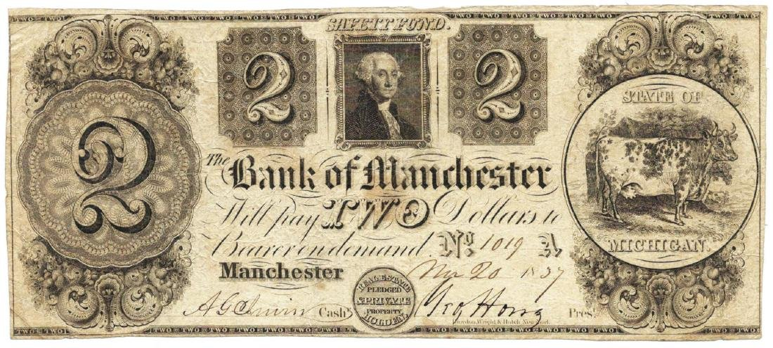 1839 $2 Bank of Manchester, Manchester, MI Obsolete