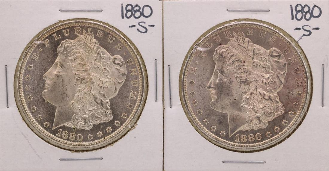 Lot of (2) 1880-S $1 Morgan Silver Dollar Coins