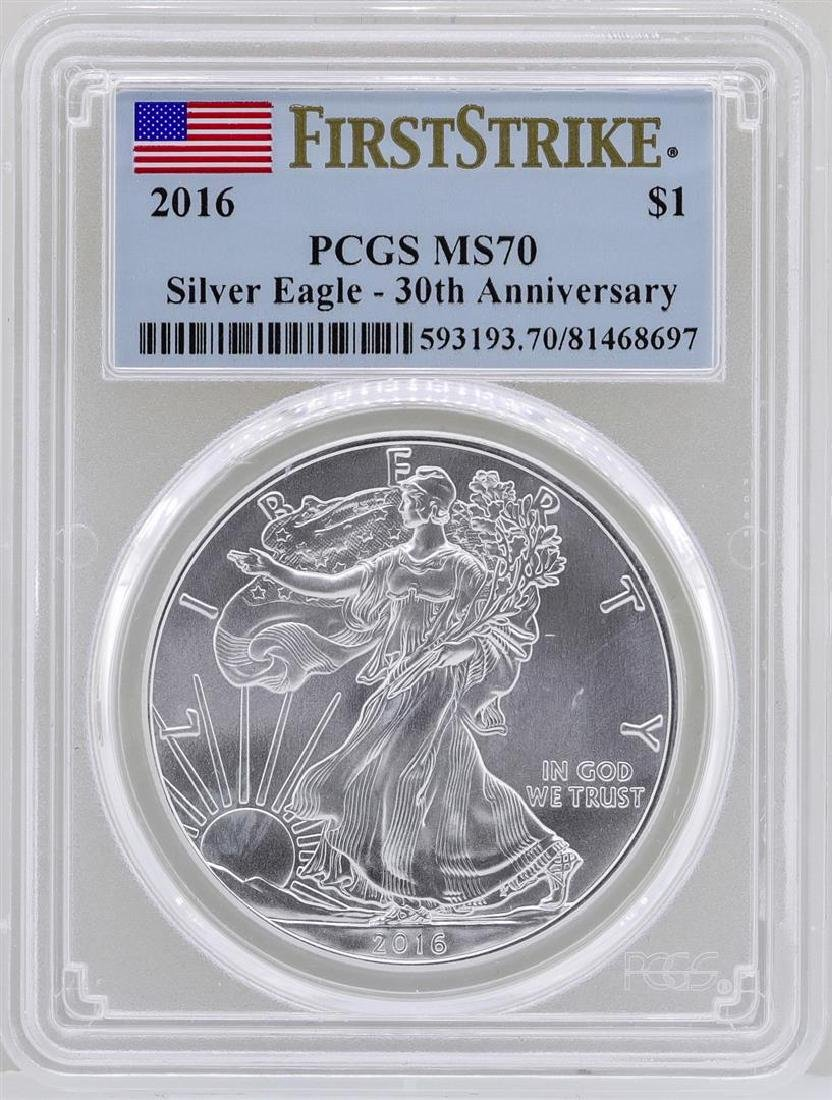 2016 $1 American Silver Eagle Coin PCGS MS70 First