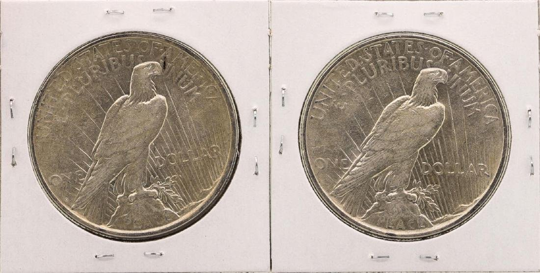Lot of (2) 1926-D $1 Peace Silver Dollar Coins - 2