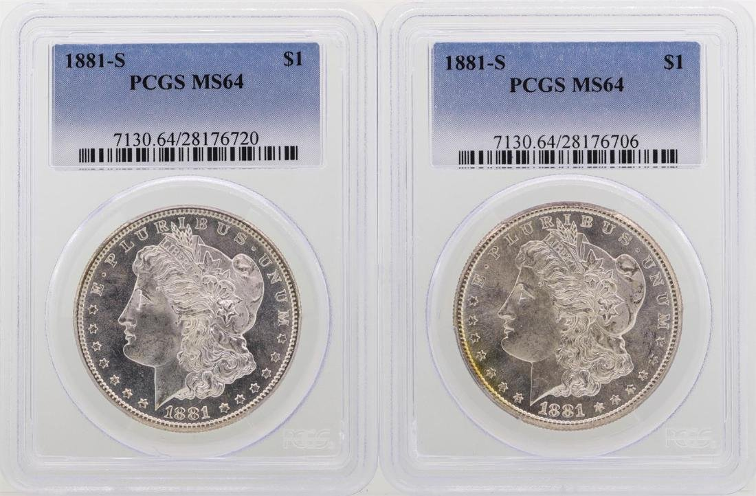 Lot of (2) 1881-S $1 Morgan Silver Dollar Coins PCGS