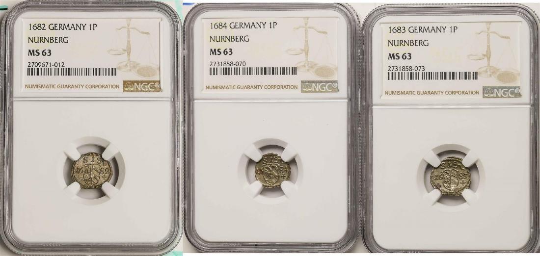 Lot of 1682-1684 Germany Nurnberg Pfennig Coins NGC