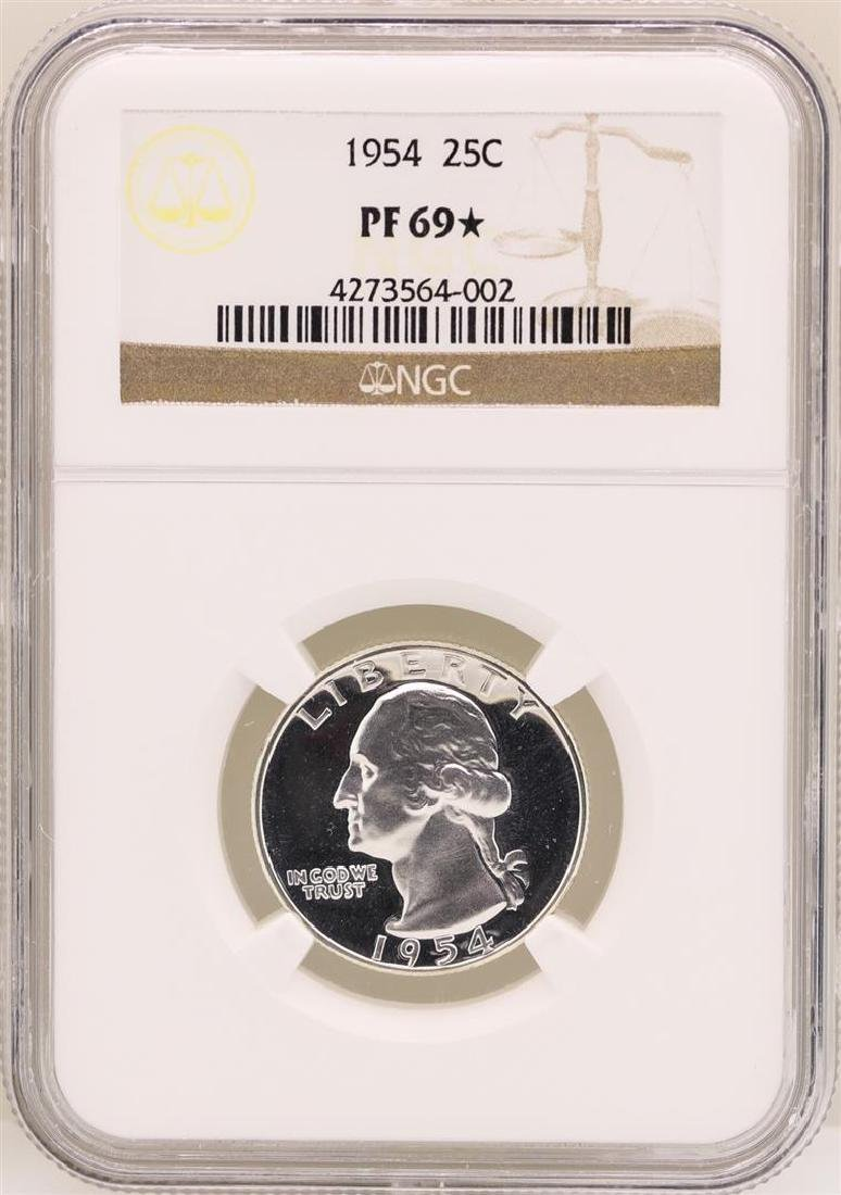 1954 Washington Quarter Proof Coin NGC PF69*