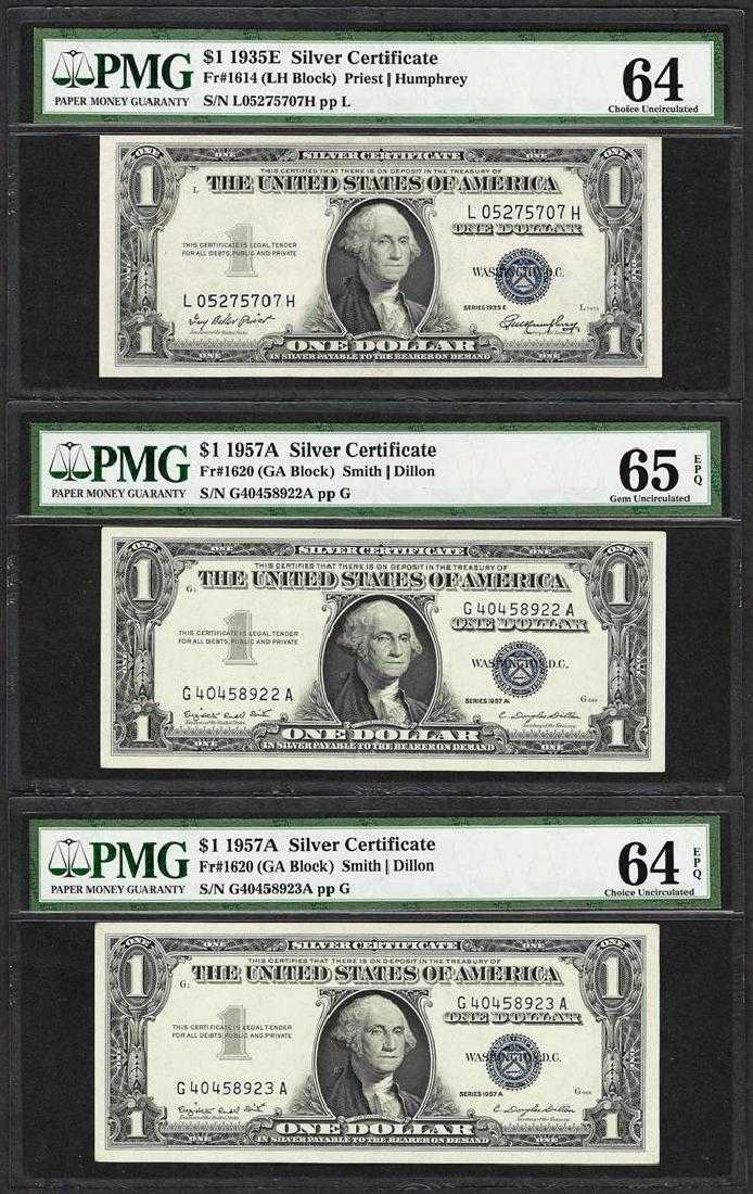 Lot Of 3 Silver Certificates 1935e Choice Unc 64