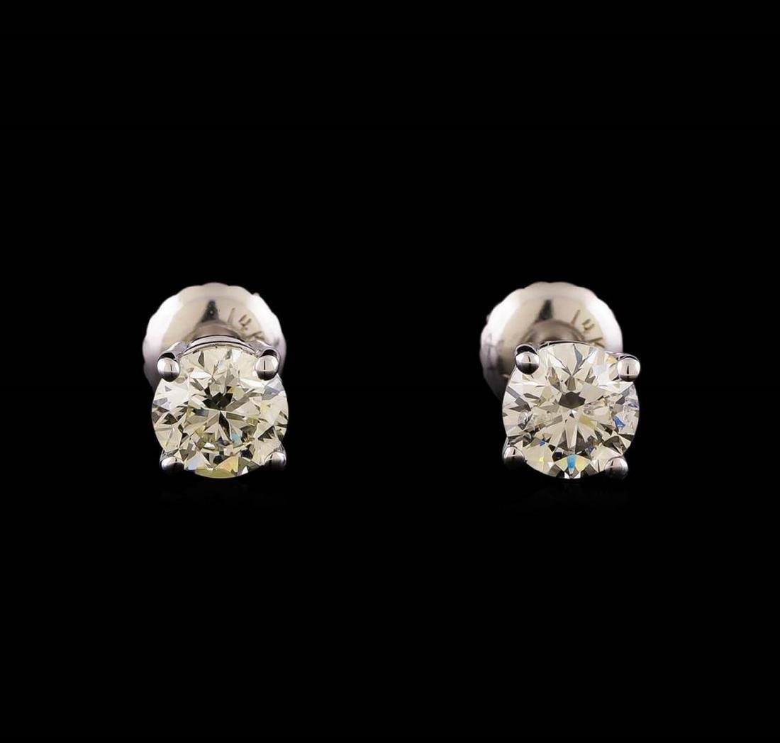 14KT White Gold 1.19 ctw Diamond Solitaire Earrings